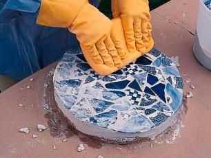 How to Make Mosaic Garden Projects | Midwest Living ~ i see a whole kitchen counter top made like this.....