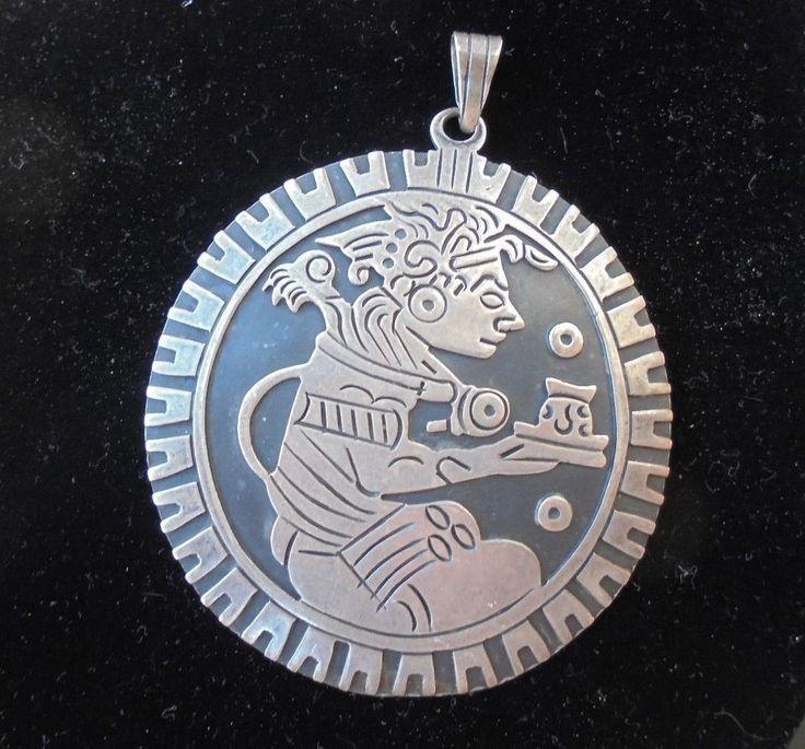Vintage Talleres de los Ballesteros Mexico Sterling Silver Mayan/Aztec Pendant #LosBallesteros