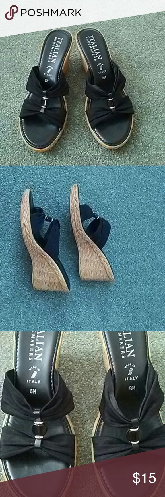 Black wedge sandals An Italian shoe that fits comfortably and looks great with jeans, dresses and even shorts Italian Shoemakers Shoes Wedges