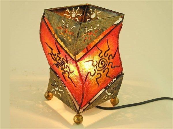 SET 2 PZ LAMPADA DA TAVOLO  SUN  BAJOUR LAMPADARIO DESIGN ETNICO PARALUME 20 CM