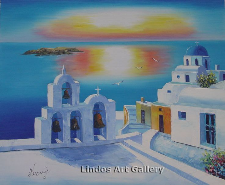Oil Paintings : Santorini Sunset Church Seaview Oil Painting