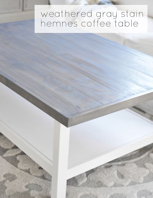 wood top with weathered gray stain on IKEA hemnes table