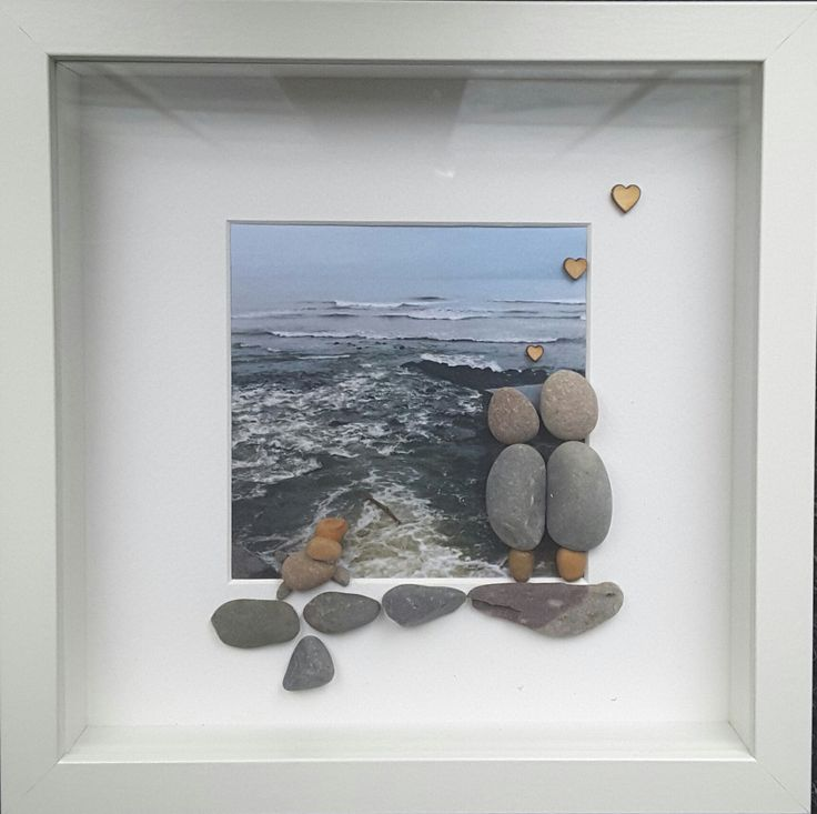 Pebble art, couple art, dog art, beach picture, dog picture frames, beach frame, holiday, anniversary gift, couples portrait, beach decor by CoastalPebblesShop on Etsy