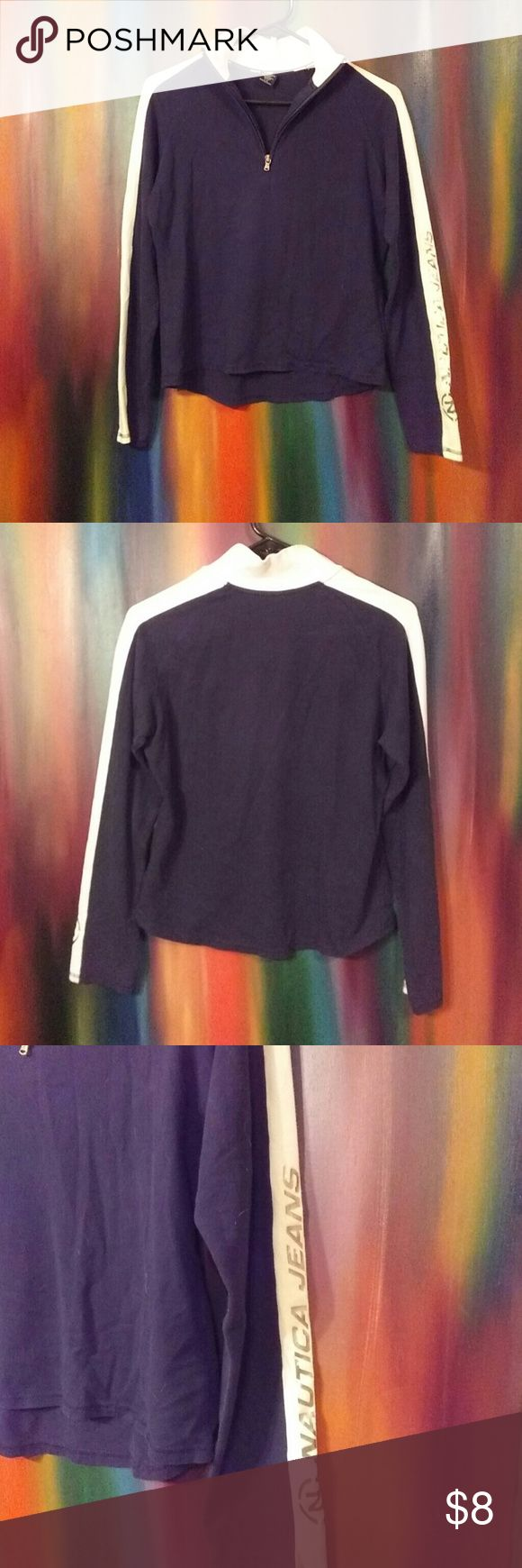 Nautica Jeans Shirt Navy & Cream long sleeve top. High zip up collar w/silver nautica jeans logo on left sleeve. Size Large. Made in Malaysia; 92% Cotton & 8% Spandex Nautica Jeans  Tops Tees - Long Sleeve
