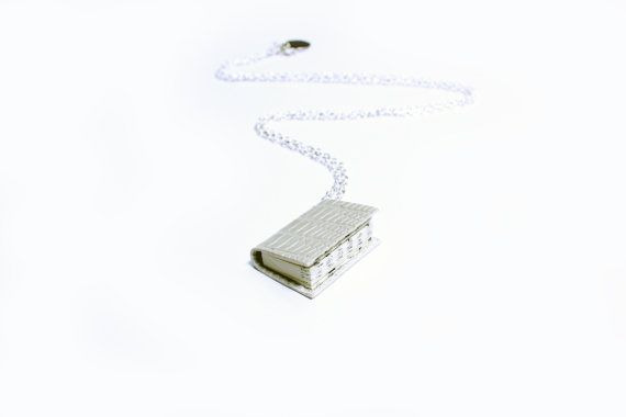 Miniature Book Necklace Handcrafted from Upcycled Books & Leather Bound in Cream Embossed Leather (Lizard Print) - Ivory Wedding Accessory- Ex Libris https://www.etsy.com/nz/shop/ExLibrisJewellery