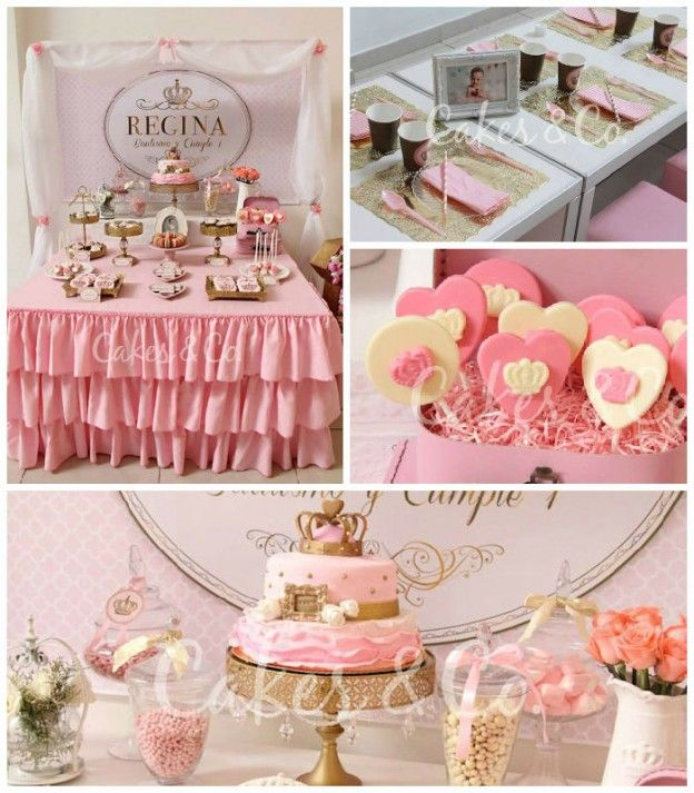 Pink & Gold Princess 1st Birthday Party via Kara's Party Ideas KarasPartyIdeas.com Cake, decor, printables, giveaways and more! #princess #princessparty #princesspartyideas #pinkandgold #firstbirthday #princesspartysupplies (2)