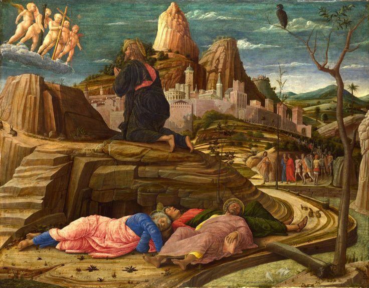 """ANDREA MANTEGNA. """"Orazione nell'orto"""". tempera su tavola . 63x80 cm.1455 circa. National Gallery, Londra."""