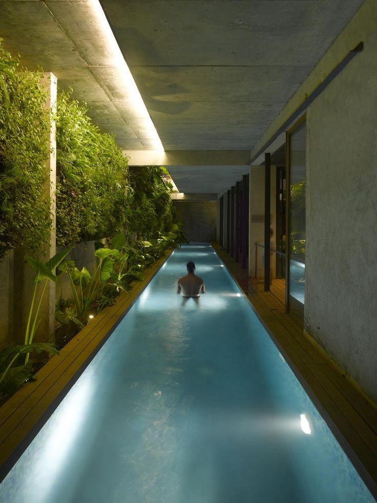 Além da iluminação vinda direcionada nos pontos de luz da piscina, temos a indireta vinda do teto iluminando apenas a parte verde no canto. Pequenos spots de luz na parte inferior do jardim tambem são perceptiveis.