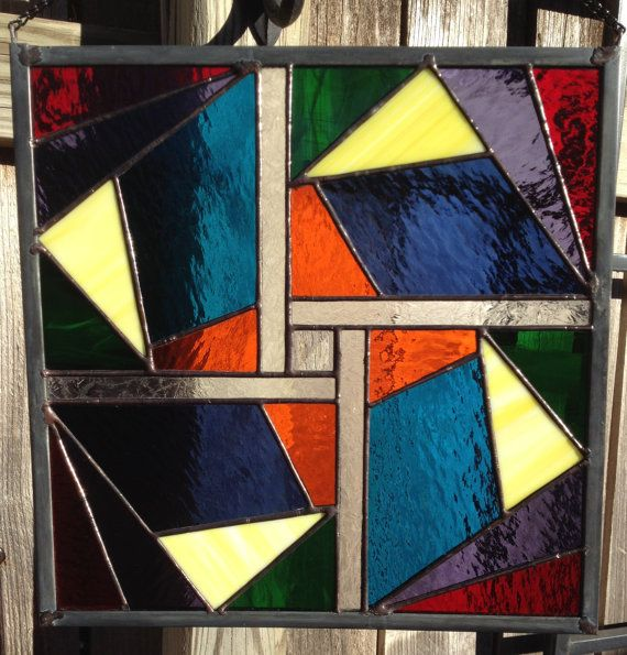 Contemporary stained glass panel geometric plg015 for Contemporary stained glass
