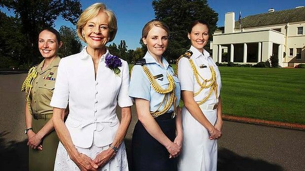 Australia's first female Governor-General, Quentin Bryce, and her three aides-de camp. It's the first time that women have held all 4 positions.    Photo credit: Alex Ellinghausen, The Age