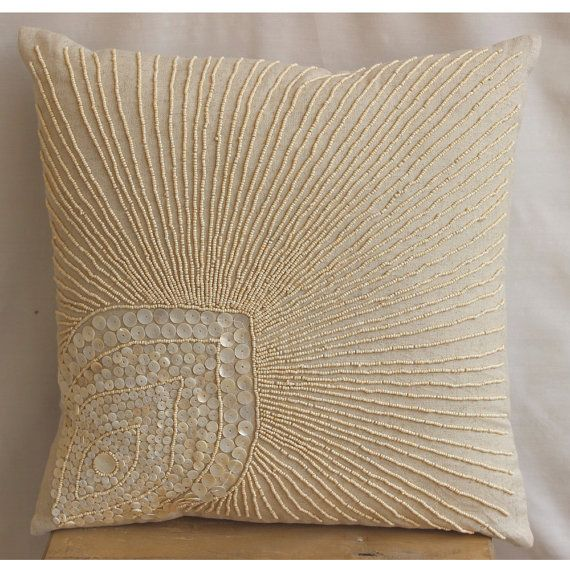 Decorative Throw Pillow Covers Accent Couch Pillow 18 Inch Linen Pillow Mother Of Pearl Embroidered Peacock Pearls Home Decor Housewares