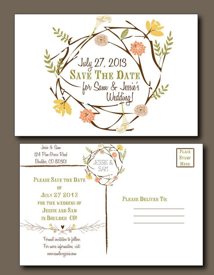 Save the Date Postcard - Spring Wedding, Summer Wedding, Rustic Wedding, Bohemian Wedding, Indie Style. $2.50, via Etsy.