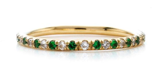 18kt Yellow Gold Stackable Wedding Bands NEW COLLECTION 1.2mm White Sapphires and Emeralds Anniversary Bands on Etsy, $390.00
