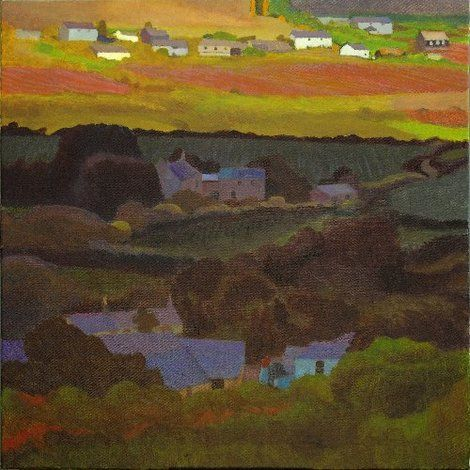 Tom Henderson Smith, Farms in sun and shade, Penwith 61 (H) × 61 (W) cms on ArtStack #tom-henderson-smith #art