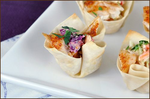 mini fish taco with wonton wrappers