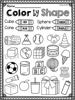 3d shapes real life objects coloring worksheet