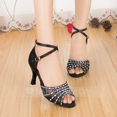 [AU$ 47.00] Women's Satin Heels Sandals Latin With Rhinestone Ankle Strap Dance Shoes (053071159)