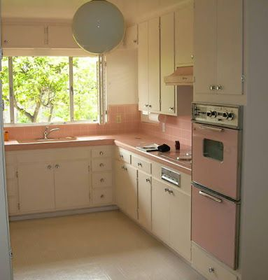 1950's Atomic Ranch House: 1950's Pink Kitchen Appliances -  My aunt caroline had a gray & pink kitchen. I thought it was the prettiest thing I ever saw! Except for her yellow caddie convertible!