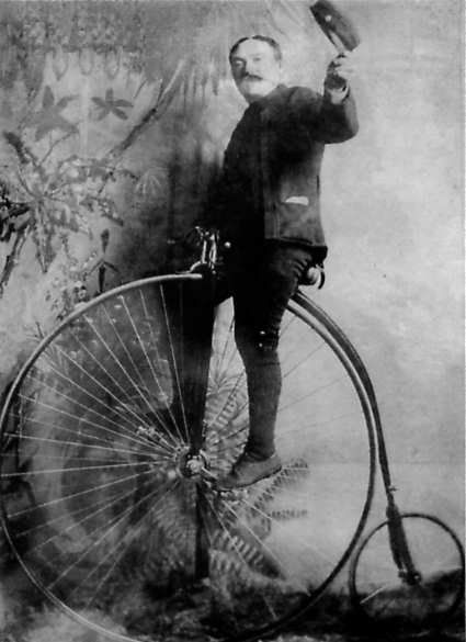 20. Apparently, Boston has always been a city that attracted cyclists. Here, the French inventor Pierre Lallemant, perches on a penny-farthing in Boston in 1886.