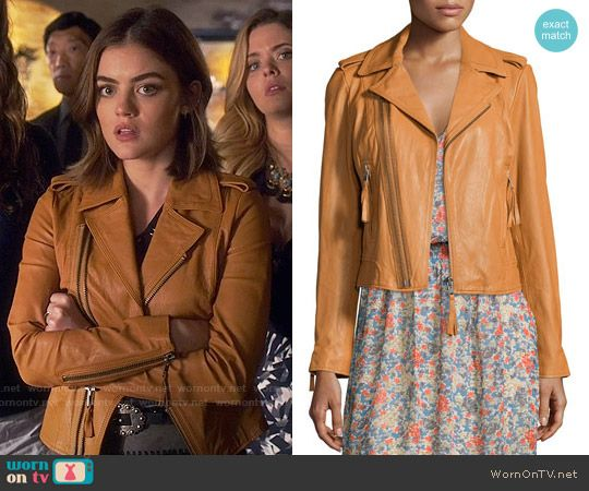 Aria's tan leather jacket  on Pretty Little Liars.  Outfit Details: https://wornontv.net/59128/ #PLL