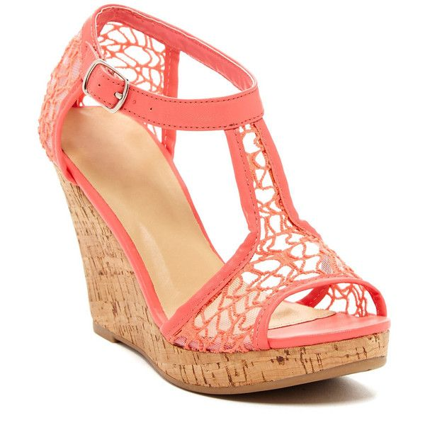 Kiss & Tell Kealie Lace Wedge found on Polyvore