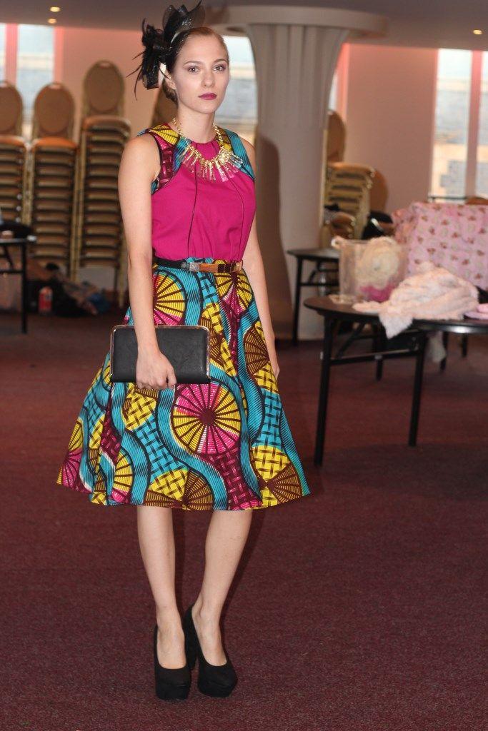 Pink African print dress