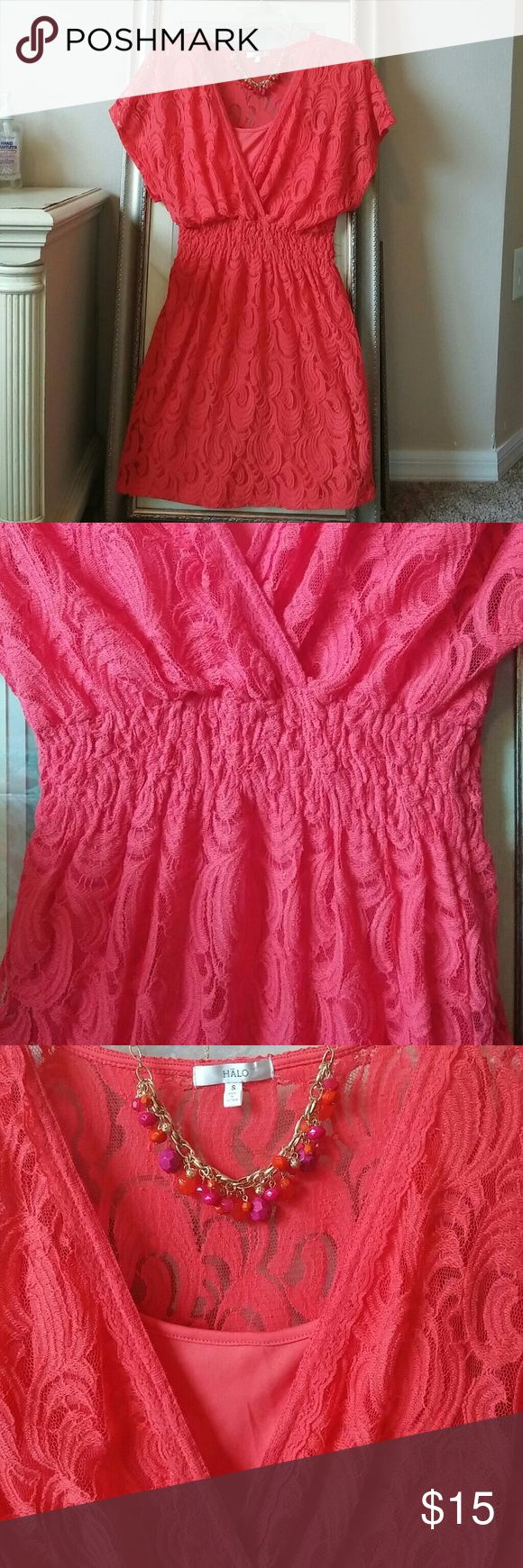 HALO Dress Coral color lace puckered waist dress with undergarment. It was never worn. Dresses Mini