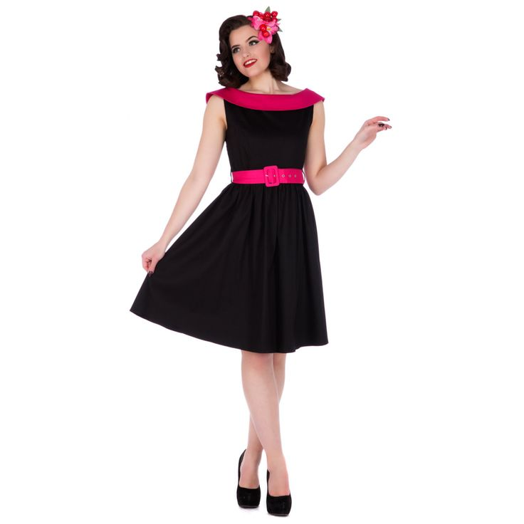 Cindy Sassy Swing Vintage Dress in Black/Pink Collar