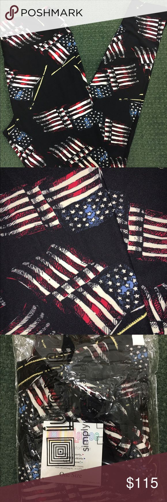 Lularoe RARE OS BLACK AMERICAN FLAG PRINT  JUST RELEASED! Unicorn! Brand new, RARE HARD TO FIND HTF, unworn, Lularoe, OS One Size print pattern Leggings. MADE IN CHINA!