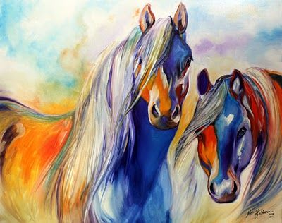 Abstract Art Gallery: SUN & SHADOW HORSES ORIGINAL OIL PAINTING EQUINE ART by MARCIA BALDWIN