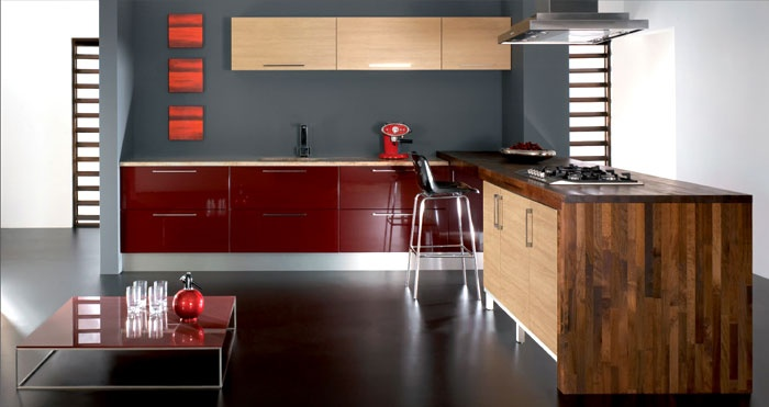 Burgundy Gloss and Sanded Oak - we just love this one!