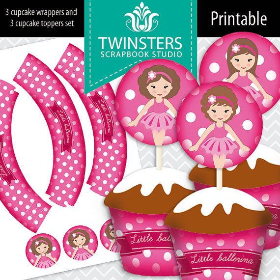 Printable Little Ballerina cupcake wrappers and toppers ? TW091 ? instant download