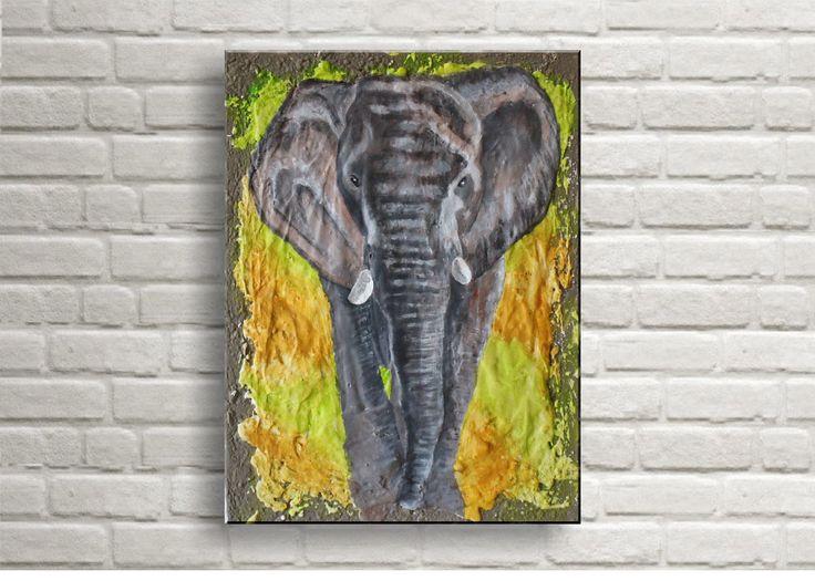 Elefant - Acryl auf Leinwand 30x40 cm von FarbenfrohGalerie auf Etsy #elephant #painting #wildlifeart #wildlifepainting #wildlife #elefant #africa #afrika #art #kunst #acrylbilder #mixedmedia