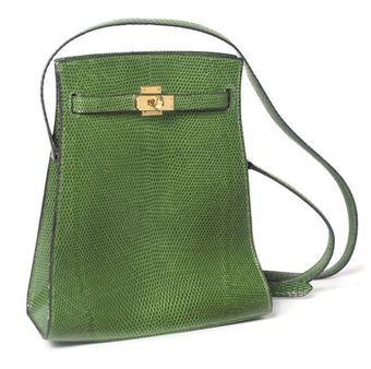 Hermes 'Kelly Sport' bag in green lizard, ca. 1960