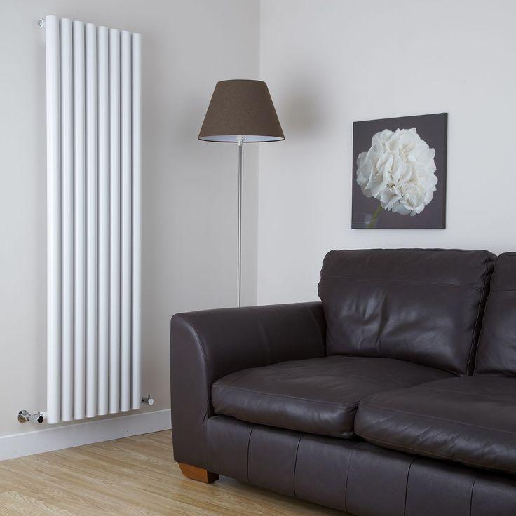 Milano Java White Vertical Round Tube Designer Upright Radiator 1600mm x 472mm In Modern Living Room