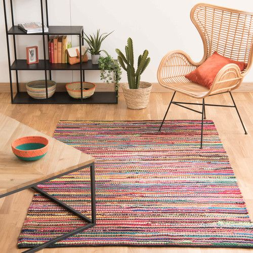 Meerkleurig gevlochten katoenen ROULOTTE tapijt 160 x 230 cm