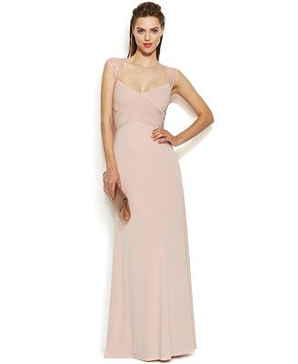 Calvin Klein Embellished Sleeve Illusion Crisscross Gown