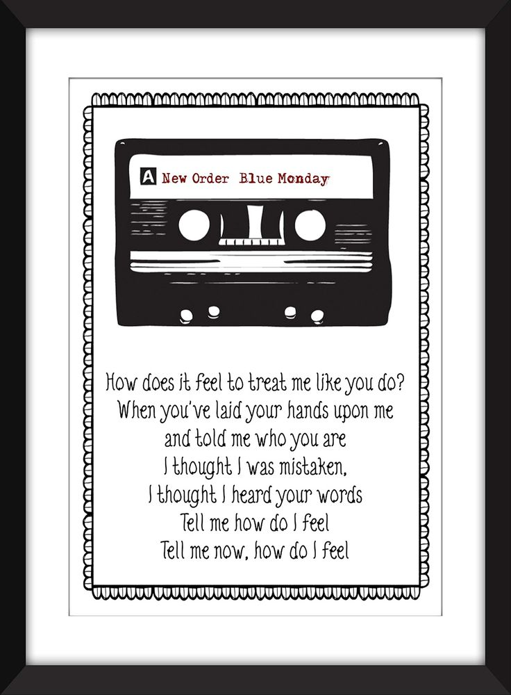 """New Order Blue Monday Lyrics Print 11 x 14/8 x 10/5 x 7"""" A3/A4/A5 Typography Print, Ideal Gift for New Order Fans. This unframed print is a celebration of New Order's most famous tune Blue Monday If there is another of your favourites that you would like me to feature just let me know. Please note that the frame is not included and is for illustrative purposes only. Print comes in six measurements Small - 5 x 7 inches Small - A5 (5.8 inches x 8.3 inches) Medium - 8 x 10 inches Medium - A4..."""