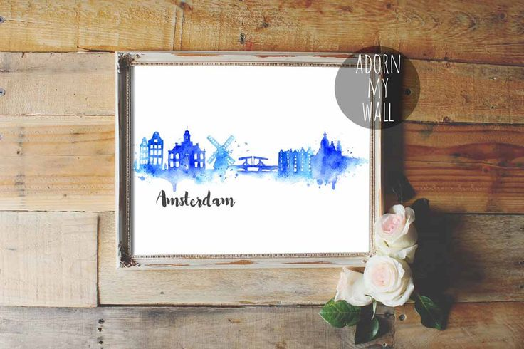 50% OFF Amsterdam, cityscape, Amsterdam skyline, watercolor, skyline, Amsterdam poster, Amsterdam print, Holland, dutch, abstract, wall art by AdornMyWall on Etsy