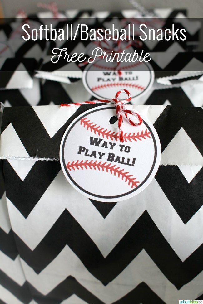 Free Printable: Softball/Baseball Sports Snack Printable