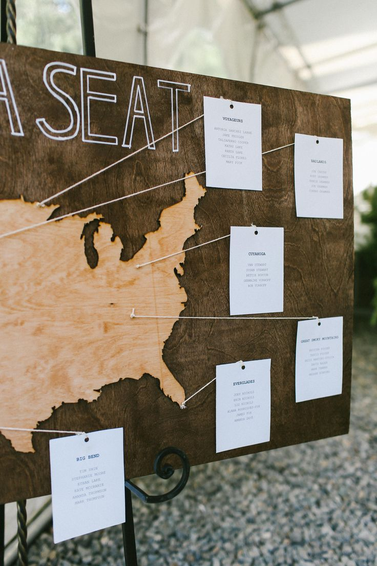 find your seat wedding seating display with National Parks as the table names!