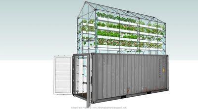 20 foot urban farm project - a high-yield greenhouse on top of an old shipping box. Environmentally friendly and energy efficient - uses fish tanks to produce fertilizer and cycles water through. Can be placed on the street or in parking lots for sustainable urban gardening that is hard to raid. Blueprints are free and downloadable from the site.
