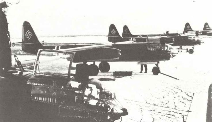 On 24 of Dec 1944 the Arado 234B was first used as a bomber  nine aircraft were used in the Strike .The target was a Rail hub in Liege east - Belgium all bombs found their mark and all aircraft return to base safely .later night missions were flown all over belgium and france but fuel shortages become more criticle and  kept this potent luftwaffe jet bomber aircraft on the ground