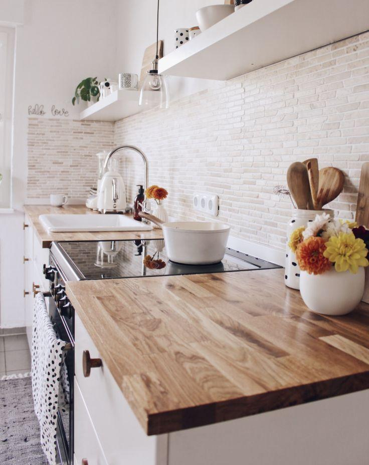 New Worktop Made Of Solid Wood For The Kitchen In The Scandinavian Style Kuch Home Decor Ideas Diy Kuche Massivholz Arbeitsplatte Kuche Arbeitsplatte
