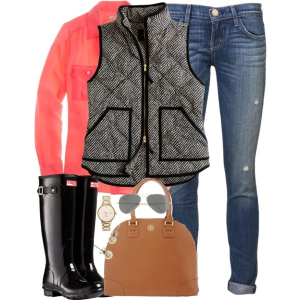 J crew vest, coral oxford, jeans, and black rain boots.