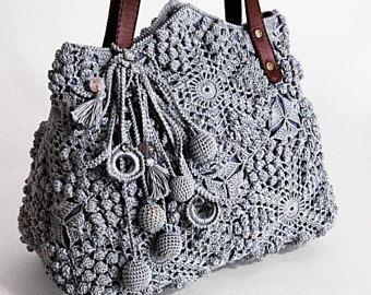 """Boho Tasche handgefertigt """"Blues"""" (gehäkelte Boho-Chic-Eco Handtaschen kaufen)"""