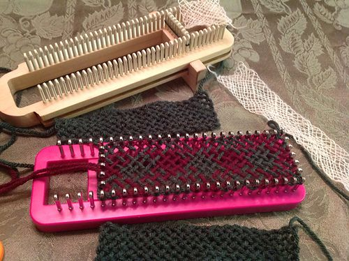 Unique way to use a sock loom for weaving...could use for hat bands