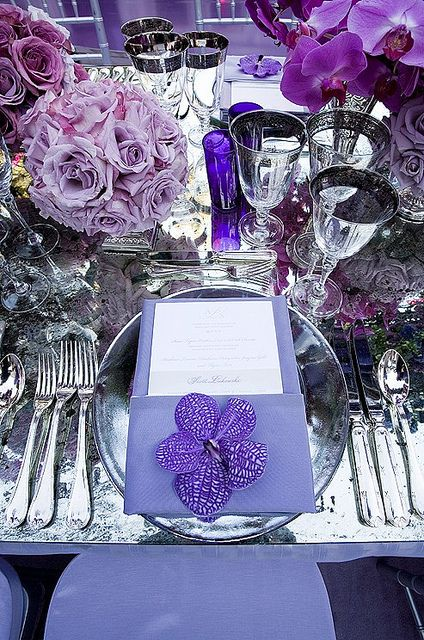 Love this purple table setting.