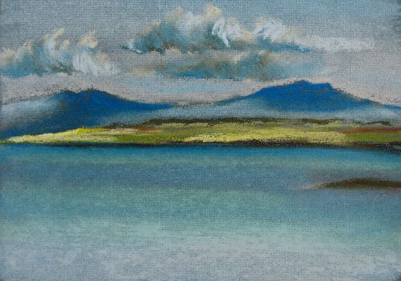 Sea study at Broadford, original seascape pastel drawing on Etsy, £70.00