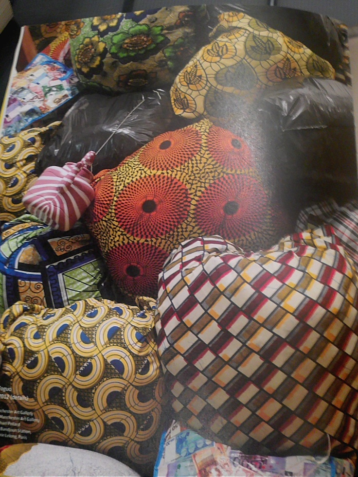 A contrasting mix of traditional African patterns made up of bright colours and interesting textile prints